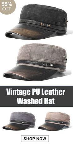 Men Vintage PU Leather Brim Flat Cap Breathable Washed Cotton Sun Hat  Outdoor Sports Cap is hot sale on Newchic. 1397cf0019bd
