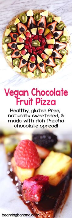 A fun, fruity, healthy spring time dessert! This vegan chocolate fruit pizza is a thin, sweet and chewy cookie base topped with rich Pascha chocolate spread, and tons of pretty fruit. This one is a showstopper!
