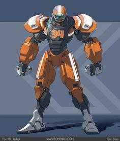 Fox NFL Robot (Cleatus) concept art by Tom Zhao Character Concept, Character Art, Robots Characters, Arte Robot, Cool Robots, Sci Fi Armor, Robot Concept Art, Fox Sports, Sports Art
