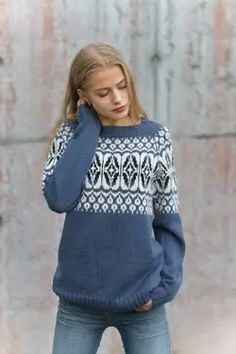 Something Blue, Knitwear, Knit Crochet, Cool Outfits, Dressing, Turtle Neck, Graphic Sweatshirt, Pullover, Denim
