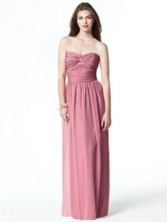 Full length convertible halter/strapless lux chiffon dress. Matching sash can be used to create halter neckline at shirred bodice or as sash at natural waist.