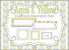 Aqua and Yellow Classroom Decoration Pack- $55 www.etsy.com/shop/lollylanddesigns
