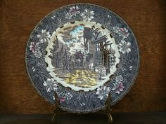 Vintage English Brown and White Tudor Ware Plate by EnglishShop, $49.00