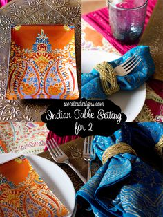 create Indian inspired table settings or a tablescape with help from @Cost Plus World Market.