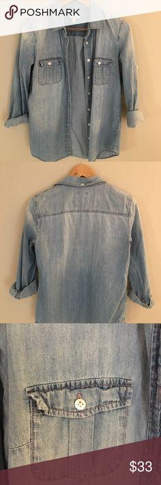 I just added this listing on Poshmark: J. Crew Chambray Shirt. #shopmycloset #poshmark #fashion #shopping #style #forsale #J. Crew #Tops