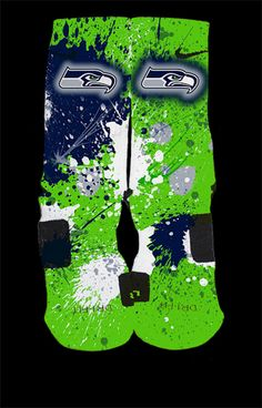 Seattle+Seahawks+Inspired+Custom+Nike+Elite+Socks    Each+pair+is+custom+created+when+you+order.+There+are+minor+flaws+in+each+creation+--+no+two+socks+are+the+same.    These+are+authentic+Nike+Elite+socks+for+sale.+The+design+on+the+sock+was+not+created+by+Nike,+but+was+created+and+customized+by...