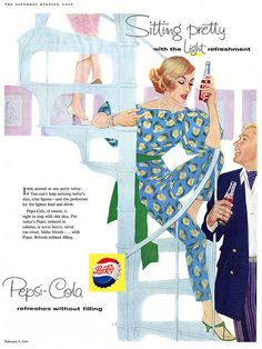 She's sitting pretty with light refreshment.  #vintage #food #drinks #Pepsi #ads #1950s