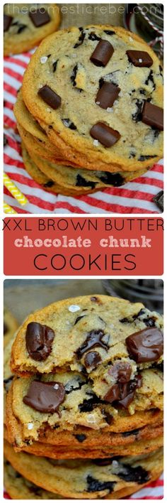 XXL Brown Butter Vanilla Bean Chocolate Chunk Cookies - loaded with brown butter, sweet vanilla bean, sea salt and thick chunks of semi-sweet chocolate, these cookies are simply irresistible! #brownbutter #chocolate #cookies