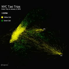 24 Hours of NYC Taxi Trips on Vimeo Map Design, Jfk, Taxi, Infographics, New York City, Trips, Green, Viajes, Infographic