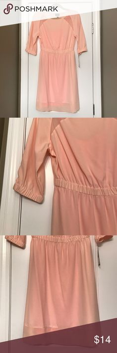 "Mossimo Peach Dress with Neon Slip Mossimo Peach Dress with 3/4 Sleeve and Neon Slip Underneath. Approximate Measurements: Bust 34"", Length 36"". Mossimo Dresses Long Sleeve"