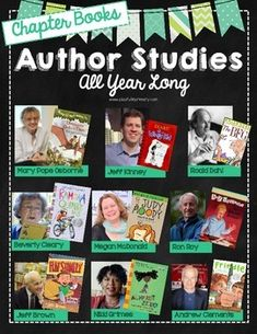 Author Studies All Year Long- Chapter Book edition Fantastic for school or classroom library displays!   This pack includes:  • Black or white version for your preference • Labels for all 9 authors • Ideas for displaying each author • High quality graphics if you prefer to project using a projector  Each author study includes: • 3 slides: An author pictures slide, biography/fun facts slide and a published books slide