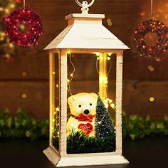 BRIGHT ZEAL Distressed Vintage Christmas Lantern with Cute Teddy Bear & 30 LED Starry String Lights - Decorative Lantern Lights - Indoor Hanging Lights (Timer, Battery Included) 1411 Starry String Lights, Lantern String Lights, White String Lights, White Lanterns, Vintage Lanterns, Indoor String Lights, Led Lantern, Lanterns Decor, Candle Lanterns