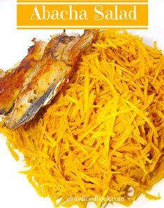 Abacha Salad | cassava, 1 tsp. ogiri ugba 2 maggi cubes 1/2 tsp. powdered edible potash Ukpaka (optional) Fried fish, meat or stock fish  1/2 tsp. powdered ehu seeds (optional) Sliced garden eggs/leaves (optional) 4 tsps. grinded crayfish 1 fresh pepper (blended) 1 onion (diced)