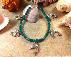 Blaugrün Jade Dolphin Fußkette  Fußkette Delfin von StarshineBeads