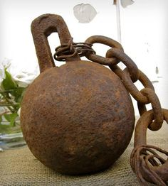 Authentic Prison Ball And Chain circa 1800s City & Sea Vintage