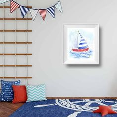 Printable nautical nursery decor for baby nursery and kids rooms. Grab a digital download and start decorating today or choose a giclee or canvas print from our HUGE collection of nursery art! #homedecor #sailboat #boy #blue #ideas