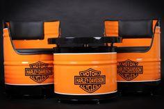 Harley Davidson oil drum furniture