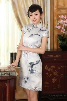 Short length Silk Fabric Cheongsam Qipao Chinese dress Z0013-01