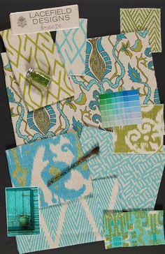 INSPIRED DESIGN: Color Story: Turquoise & Green Fabrics. Ikats, Geometrics, Florals, Chevron