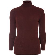 Dorothy Perkins Berry Ribbed Roll Neck Jumper ($35) ❤ liked on Polyvore featuring tops, sweaters, red, red sweater, roll neck jumper, roll neck top, red top and berry sweater