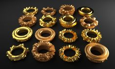 16 rings 3d printed gold plated studioluminaire