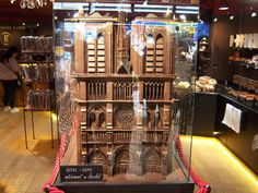 Model of Notre Dame made out of chocolate. In a Montmarte chocolate shop, Paris