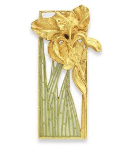 Lalique 1900 signed Enamel & Gold Plaques (pair) via Christie's. Openwork rectangular gold panel framing a sculpted gold iris-winged stem & bluish green plique-à-joir enamel leaves, mounted in gold. Bijoux Art Nouveau, Art Nouveau Jewelry, Jewelry Art, Vintage Jewelry, Jewelry Design, Jewellery, Lalique Jewelry, Hood Ornaments, Belle Epoque