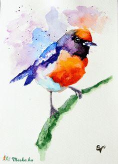 Vörösbegy - akvarell, Képzőművészet , Dekoráció, Festmény, Akvarell, Meska