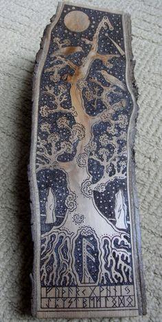 """Honouring Odin"" by Paranda. Applewood slice pyrographed with tree design, Elder Futhark Runes, and Odin's ravens, Huginn and Muninn."