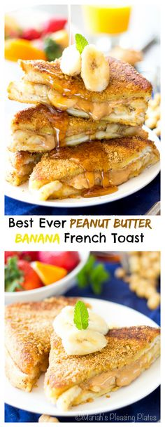 This is the Best Ever Peanut Butter Banana French Toast! Thick pieces of King's Hawaiian bread sandwiched between peanut butter swirls and banana slices, topped with a crunchy peanut butter cereal coating!