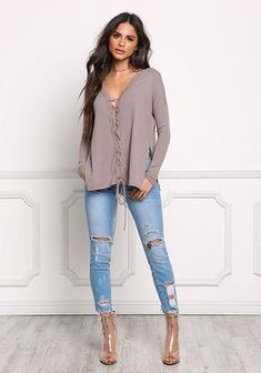 Mocha Lace Up Ribbed Knit Slit Top - New