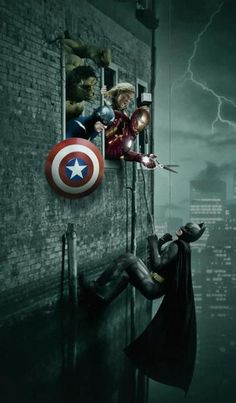 """Box Office Fight - the nerd in me goes """"eh, would never happen. The Avengers are Marvel an Barman's DC. Marvel Comics, Marvel Dc, Marvel Heroes, Marvel Characters, Batgirl, Catwoman, Two Worlds, Univers Marvel, The Avengers"""