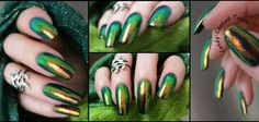 Iridescent chrome color shifting nails using craft glitter over black gel.