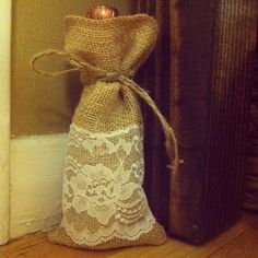 Burlap and lace mini wine/champagne bottle by CourtandSparkDesigns, $28.00