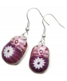 Handgemaakte roze-paarse oorbellen van prachtige millefiori glas!