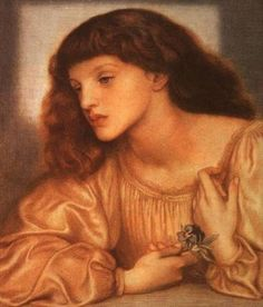 May Morris -  one of the two daughters of the poet and craftsman, William Morris and his wife Jane. In this study, Rossetti has given May the strong look of her mother, with whom Rossetti was infatuated. This painting bears the inscription ' M.M. aetat X1872', the year of Rossetti's collapse. Both May and her sister Jenny were fond of Rossetti, who often asked after them, once even offering to adopt May.
