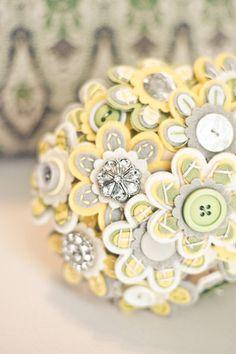 Fabric Bouquet in Pastel Lemon & Grey