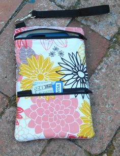 iPhone 6 Plus, Galaxy Note 4 Otterbox Floral Wristlet Wallet; Zipper Pouch; Wristlet Pouch; Large Cell Phone Wristlet; Cell Phone Purse by ChristyRaynDesigns on Etsy