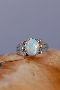 Lab Opal Navajo Ring | Lab Opal Native American Ring | Native American Lab Opal Jewelry