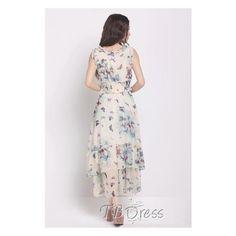 Wonderful Butterfly Print Chiffon Falbala Bohemia Dress (48 AUD) ❤ liked on Polyvore featuring dresses, butterfly pattern dress, long dresses, chiffon dresses, long day dresses and butterfly print dress