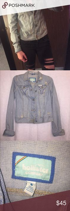VINTAGE distressed denim hollister jacket ripped jean jacket from hollister, great vintage condition! size small but fits like an xs Hollister Jackets & Coats