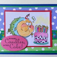 Art Impressions Rubber Stamps: Ai ZooCrew: Deep Breath Birthday (Sku#4471) ... handmade card. window, fish, blowfish, bubbles, water, cake, zoo