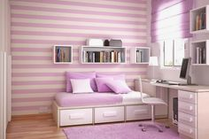 A Collection Of Purple Bedroom Design Ideas : Feminine White and Purple Striped Walls Little Girls Bedroom Decorating with Purple Rug and Wooden Floor Teen Room Decor, Bedroom Decor, Bedroom Ideas, Bedroom Designs, Interior Design Inspiration, Home Interior Design, Design Ideas, Color Inspiration, Girl Room