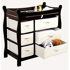 @Overstock - This Badger Basket changing table keeps everything tidy and concealed for a clean look in the nurseryThe changing area has safety rails on all four sides for complete safetyThis table has six baskets to help you stay organizedhttp://www.overstock.com/Baby/Badger-Basket-Espresso-6-basket-Baby-Changing-Table/4670578/product.html?CID=214117 $127.67