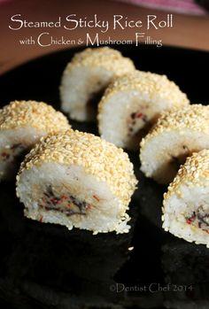 Steamed sticky rice glutinous rice roll dimsum recipe