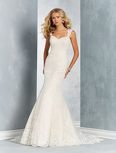 Alfred Angelo Style 2612: sheath wedding dress featuring sweetheart neckline and sheer lace straps