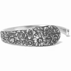 Slender Wild Flower Bracelet, 925 Vintage Sterling Silver Spoon Cuff, Alvin 1932 Bridal Bouquet, Adjustable Size 5 6 7 Gift for Her, 7392 Silver Spoon Jewelry, Silverware Jewelry, Silver Spoons, Cutlery, Silver Rings, Cute Jewelry, Vintage Jewelry, Jewelry Accessories, Handmade Jewelry