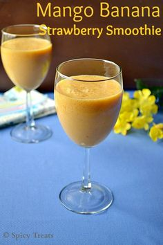 Healthy & Delicious smoothie contains combo of 3 fruits - mango, banana, strawberry. perfect for a filling breakfast! Yummy Smoothies, Breakfast Smoothies, North Indian Recipes, Indian Food Recipes, Easy Baking Recipes, Healthy Recipes, Healthy Food, Healthy Eating, Strawberry Banana Smoothie
