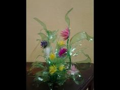 Best Out Of Waste Plastic Colourful Floral Showpiece