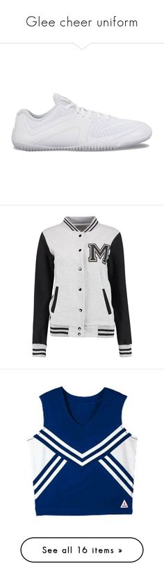 """""""Glee cheer uniform"""" by bandloverforever12 ❤ liked on Polyvore featuring shoes, athletic shoes, white, breathable mesh shoes, nike footwear, white lace up shoes, lightweight breathable shoes, mesh shoes, outerwear and jackets"""
